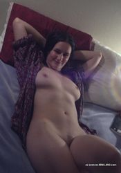Busty curvy amateur babe naked on the bed from GF Melons