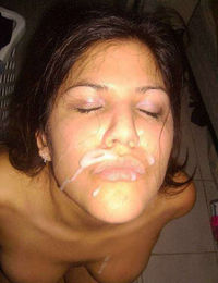 Pictures of a kinky babe who got a load of cum facial from jizzonmygf