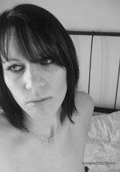 Self-shooting amateur Gothic babe in black and white pics from The GF Network