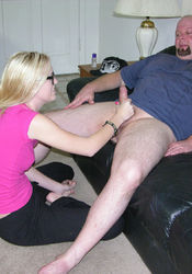 Blonde Amateur Nerd With Glasses Gives Big Bald Dude Handjob from True Amateur Models