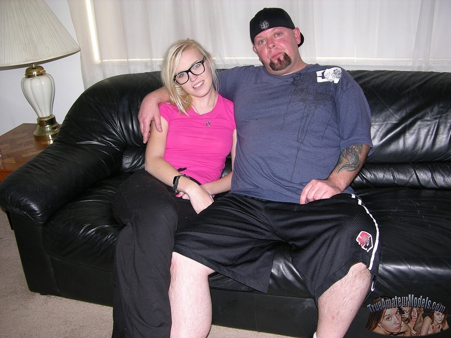 Hot Amateur Nerd Girl Jerks Off Dude On Couch